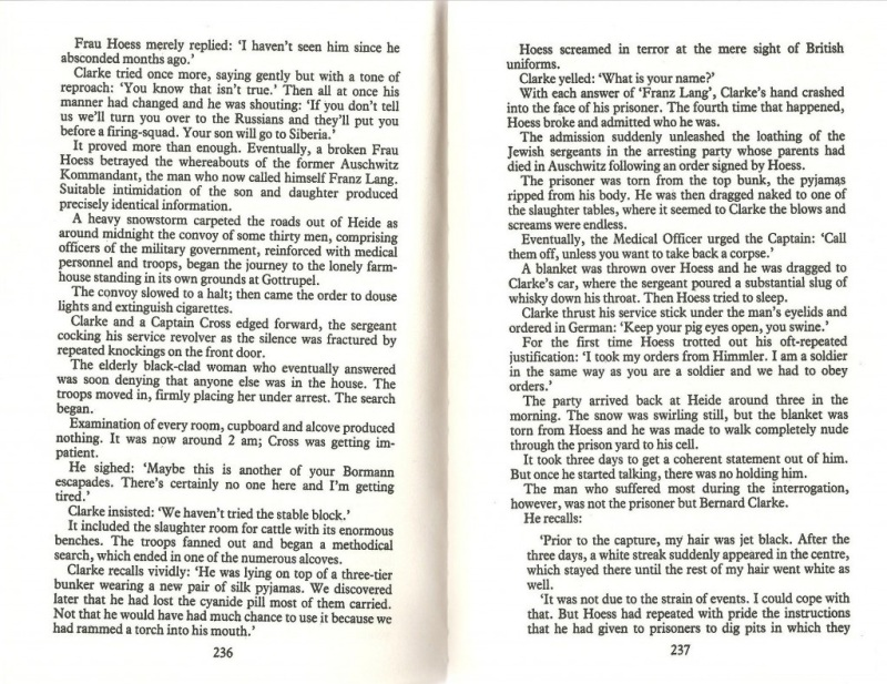 Screenshot from book Legions of Death by Rupert Butler Who Quotes Bernard Clarke Bragging About Torturing Rudolf Hoess